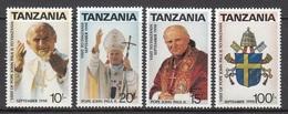 TANZANIA 1990 - VIAJE DEL PAPA JUAN PABLO II A TANZANIA - YVERT Nº 552/555** - Päpste