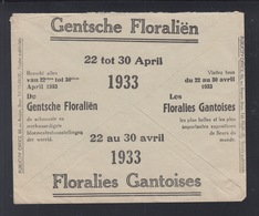 Service Des Postes Lettre 1933 Floralies Gantoises - Postdokumente