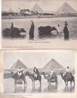 182538Groupe Des Chameaux Et Pyramides 1903 - Village Auprès Des  Pyramides 1902 (2carts) (voir Coins) - Pyramides