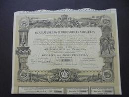 ESPAGNE - MADRID 1924 - CIE LOS FERROCARRILES ANDALUCES - ACTION DE 500 PESETAS - BELLE ILLUSTRATION - Shareholdings