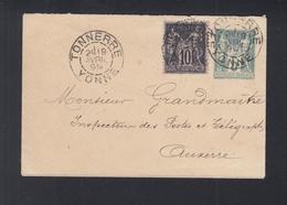 Lettre Tonnerre 1899 A Auxerre - Poststempel (Briefe)
