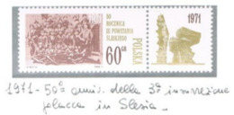 POLONIA (POLAND) - SG 2058 - 1971 SILESIAN INSURRECTION ANNIVERSARY (WITH LABEL)   - MINT** - RIF. CP - 1944-.... Repubblica
