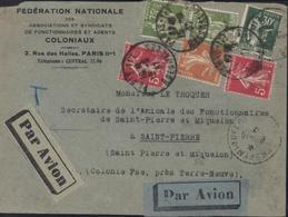 Fédération Nationale Agents Coloniaux Par Avion Pr St Pierre Et Miquelon Destination Rare YT 280 284A X2 278B 235 - Postmark Collection (Covers)