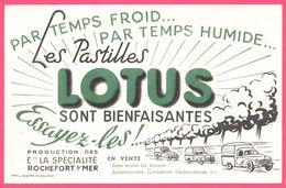 BUVARD Illustré - BLOTTING PAPER - Pastilles LOTUS Rochefort Sur Mer - Vieilles Voitures - Imp. L. MIETTE - Chemist's