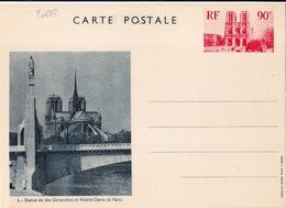 20688# ENTIER POSTAL CATHEDRALE NOTRE DAME PARIS 90 Centimes ROUGE CARTE POSTALE E1 NEUF STATUE SAINTE GENEVIEVE - Entiers Postaux