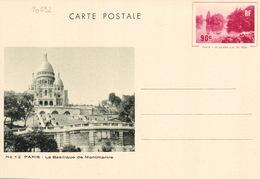 20692# ENTIER POSTAL GRAND LAC DU BOIS PARIS 90 Centimes ROUGE CARTE POSTALE G1b NEUF BASILIQUE MONTMARTRE - Standard Postcards & Stamped On Demand (before 1995)