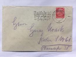 GERMANY 1936 Cover Konigsberg To Berlin With `Radfahrer! Nicht Anhängen An Fahrzeuge!` Stempel - Brieven En Documenten