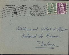 YT 809 + 811 Marianne Gandon CAD Oloron Ste Marie Basses Pyrénées 6 Janvier 1949 1er Premier Jour Tarif 15 Francs - Marcophilie (Lettres)