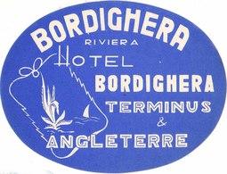 HOTEL Terminus & Angleterre - Bordighera - Italia Italy Italie – 13,5 X 10 Cm  Etiquette Bagage, Luggage Llabel, Etichet - Etiquettes D'hotels
