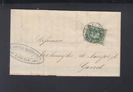 Belgien Faltbrief 1880 Liege Nach Gand - 1869-1883 Leopold II.