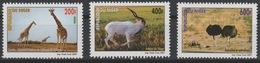 Niger 2007 Mi. 2003-2005 Girafes Addax Autruches Ostrich Strauß Giraffe Faune Fauna ** 3 Val. - Ostriches