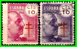 ESPAÑA DICTADURA SELLO AÑO 1940 GENERAL FRANCO Y CRUZ DE LORENA. PRO TUBERCULOSIS - 1931-50 Usados