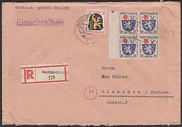 BADEN-BADEN Franz. Zone R-Doppel-Brief Mit Allgem. Ausgabe Nach Glauchau Sachsen, Portogenau - Zona Francese