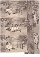 Bergeret Illustration Illustrateur Série Complète De 5 Cartes L' Enfant Aux Quilles Cpa Cachet 1905 - Bergeret