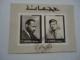 AJMAN  USED  STAMPS IMPERFORATE  SHEET MARTIN  LUTHER KING AND KENNEDY - Martin Luther King