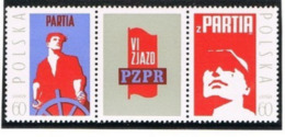 POLONIA (POLAND) - SG 2108.2109 - 1971 UNITED WORKERS PARTY  (COMPLET SET OF 2 WITH CENTRAL LABEL)   - MINT** - RIF. CP - 1944-.... Repubblica