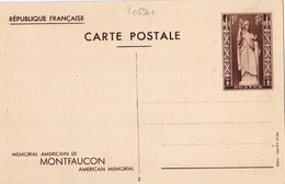 20696# ENTIER POSTAL MEMORIAL AMERICAIN MONTFAUCON MEUSE 1 Fr BRUN NOIR CARTE POSTALE K1b 1937 VUE DES RUINES - Postal Stamped Stationery