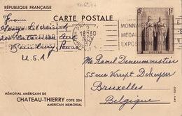 20697# ENTIER POSTAL MEMORIAL AMERICAIN CHATEAU THIERRY AISNE 1 Fr SEPIA CARTE POSTALE L1a 1937 VUE DU MONUMENT - Entiers Postaux