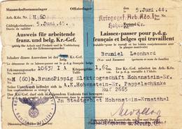 """Guerre 40-45 """" Ausweis""""  """"Laisser-passer"""" D'un Prisonnier De Guerre - Vieux Papiers"""