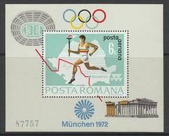 BLOC NEUF DE ROUMANIE - J.O. DE MUNICH : PORTEUR DE LA FLAMME OLYMPIQUE N° Y&T 94 - Summer 1972: Munich