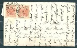 Yv 3 (2x) Sur Lettre De Milano à Chiavenna - 08 Mai 1855 - Lombardy-Venetia