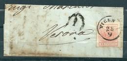 Yv 3 Sur Piece De Lettre De Vicenza à Verona - 28 Sep 1857 - Lombardy-Venetia
