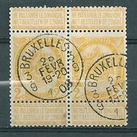 54 In Paar Gestempeld BRUXELLES 3.9 - COBA 15 Euro - 1893-1907 Wappen