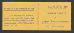 Timbre - Carnet Usage Courant  - N° 2807 - C2 - Type Marianne De Briat  - TVP -  Autoadhésif  - Rouge   - 10T - Carnets