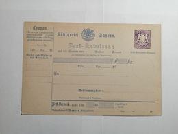 Post Anweisung Konigreich Bayern - Bavière