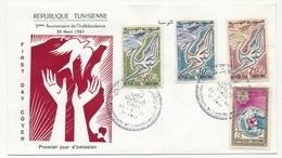 TUNISIE - Enveloppe FDC - 5ème Anniversaire De L'Indépendance - TUNIS 1961 - Tunisie (1956-...)