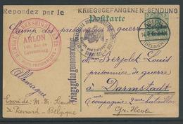 Krijgsgevangenenkaart Van Arlon Naar Darmstadt - Guerre 14-18