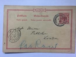 GERMANY 1897 Poskarte 1196f Homburg To London UK - Lettres & Documents