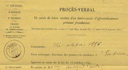 PROCES-VERBAL De La Saisie De Lettre Revêtue D'un Timbre-poste D'affranchissement Présumé Frauduleux + Lettre Type. - 1801-1848: Precursors XIX