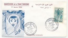 TUNISIE - Enveloppe FDC - Emancipation De La Femme Tunisienne - TUNIS 1959 - Tunisie (1956-...)
