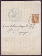 OISE - LAC - Tàd T17 COMPIEGNE (1871) Sur N° 28 (tarif Imprimé Local Sous Bande) Pour Compiègne (58) - 1849-1876: Periodo Classico
