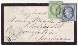 SEINE - LSC - Tàd T17 COURBEVOIE (1876) Sur N° 53 + N° 60 Pour Congleton (Angleterre) - 1849-1876: Classic Period