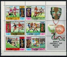 RAS AK KHAIMA    1970   WORLD  FOOTBALL CUP  MEXICO  CHAMPION  BRAZIL       1  SHEET  WITH 6 ST    MNH** - Ra's Al-Chaima