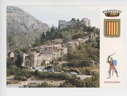 Environs De Thuir : Castelnou Village Fortifié (cp Vierge N°2639) - Autres Communes