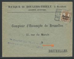 Brief Verstuurd Van Roeselare Naar Brussel - Guerre 14-18