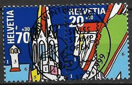 1999  Schweiz   Mi. 1692-3  FD-used  Nationale Briefmarkenausstellung NABA 2000, St. Gallen - Usados