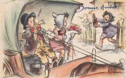 Petite Carte Bonne Année 1953 Signée Germaine Bouret - Enfants Dans Calèche - Edit MD Paris - Bouret, Germaine