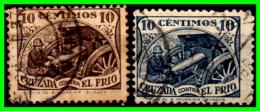 ESPAÑA – 2 SELLOS GUERRA CIVIL ESPAÑOLA  CRUZADA CONTRA EL FRIO  VALOR  10 Ctms: - Impuestos De Guerra