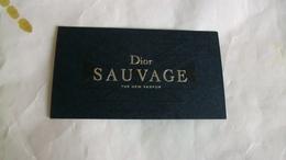 Carte Parfumée Dior Sauvage écriture  Pour Homme - Cartes Parfumées