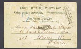 """COB 53 + 56 Sans Band. Dom. / CP Bruxelles 15 JUILLET 1907 => Paris Verso Griffes """" Non Admis Au Transport """" """" Rebut """" - 1893-1900 Fine Barbe"""