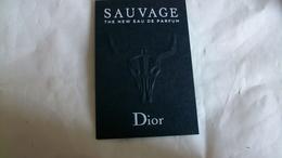 Carte Parfumée Dior Sauvage Tete D'animal   Pour Homme - Cartes Parfumées