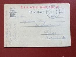 K.U.K. FELDPOSTAMT 539 - 18 IV 18  ARMEE- TELEGR - Guerre 1914-18