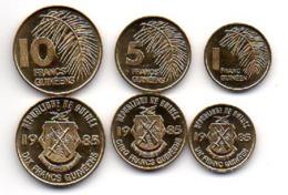 Guinea - Set 3 Coins 1 5 10 Francs 1985 AUNC / XF Lemberg-Zp - Guinea
