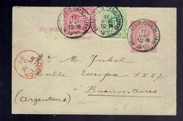 DESTINATION !!!  N° 1 + COB 45 + 46 De Bruxelles ( R. Chancellerie ) 17 MAI 1892 => Buenos-Aires ( Argentine ) / Londres - Entiers Postaux