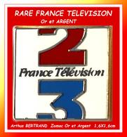 SUPER PIN'S MEDIAS FRANCE TELEVISION : Signé Arthus BERTRAND, La Rare Version ARGENT, FRANCE 2, FRANCE 3 - Médias