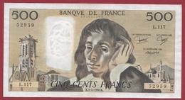 """500 Francs """"Pascal"""" Du 03/04/1980.K.---SUP--ALPH -L.117 - 1962-1997 ''Francs''"""
